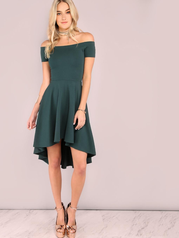 dark green off the shoulder high-low skater dress