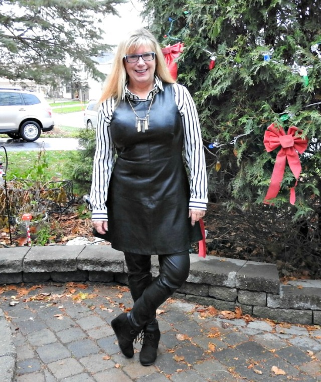 #leatherover40 woman in leather pants and dress