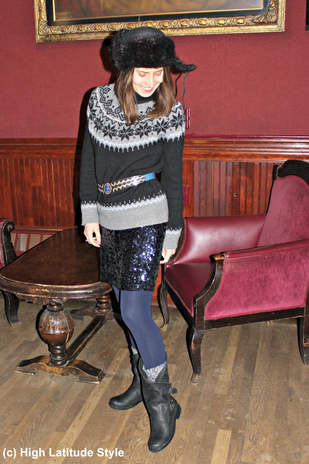 #fashionover50 woman in eclectic winter outfit