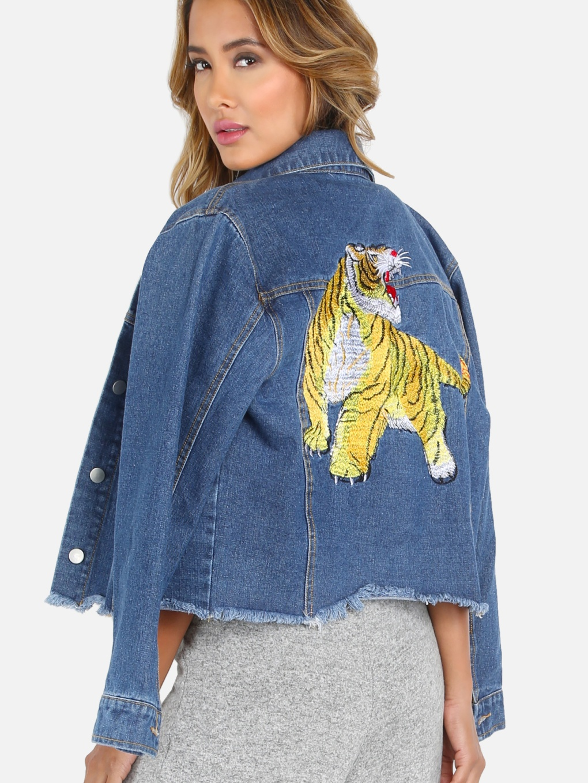 #styleover50 Embroidered Tiger Cropped Denim Jacket