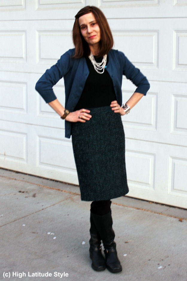 #fashionover40 woman in fake twinset and tweed skirt