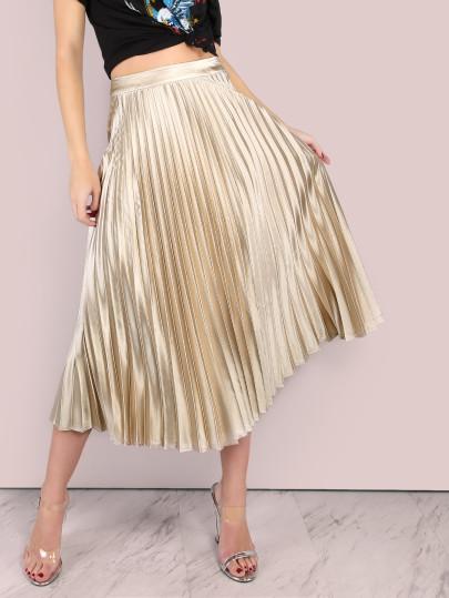 #fashionover50 High Shine Pleated Midi Skirt ALMOND
