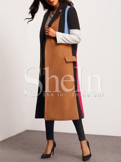 #over50fashion Multicolor Lapel Color Block Coat