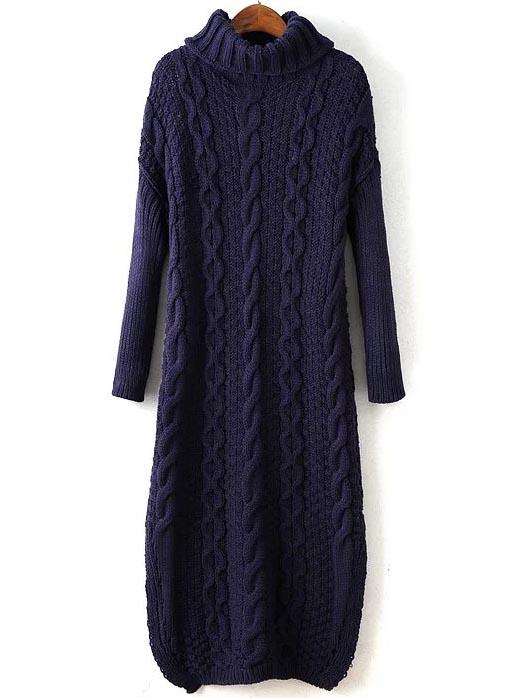 #fashionover40 Navy Cable Knit Turtleneck Slit Maxi Sweater Dress