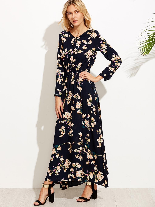 Navy floral print button front maxi dress
