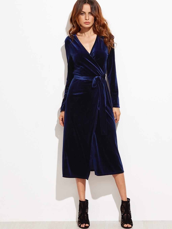 Navy surplice front velvet wrap dress