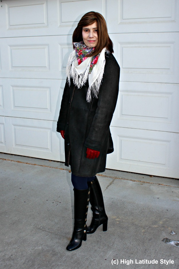 #styleover50 woman in stylish winter outerwear