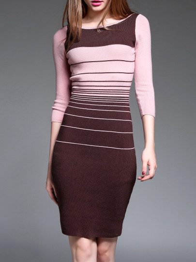 #styleover40 Shein color blog striped knit sheath dress