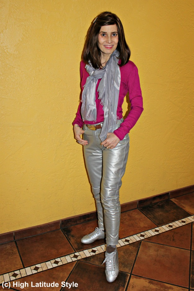#fashionover50 woman wearing shiny pants