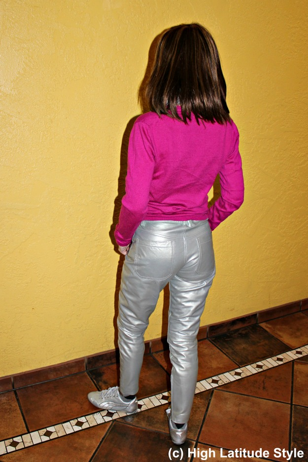 agless Style mature woman in shiny pants