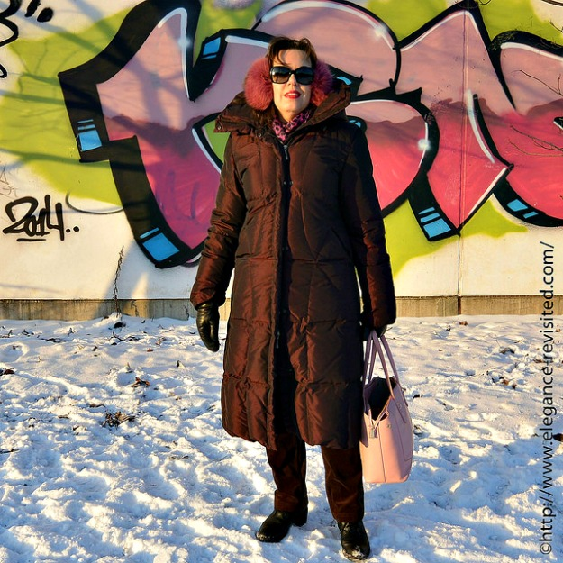 #maturefashion Tiina in a monochromatic winter look with a down puffer coat