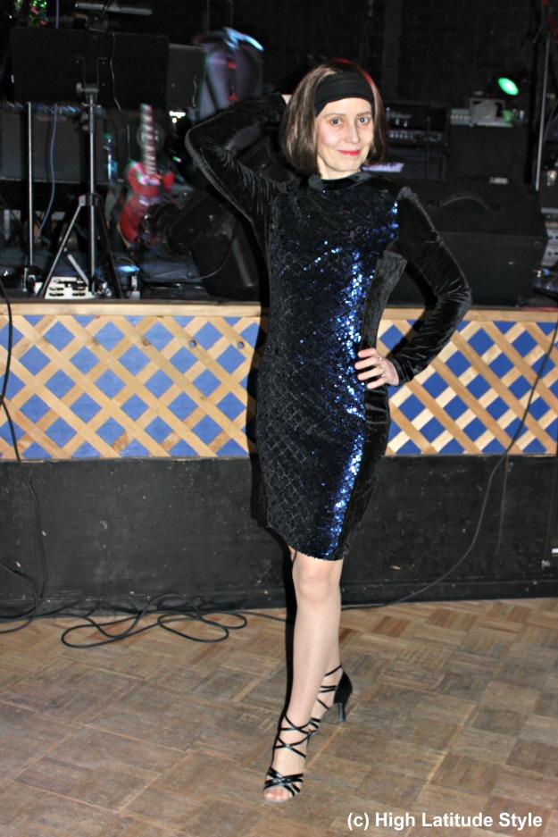 #fashion #over40 mature woman in sequin velvet semi-formal dress