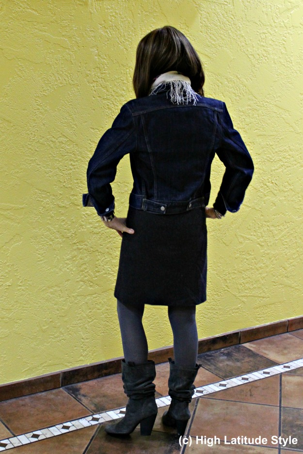 fashion over 40 woman in tweed skirt with denim jacket