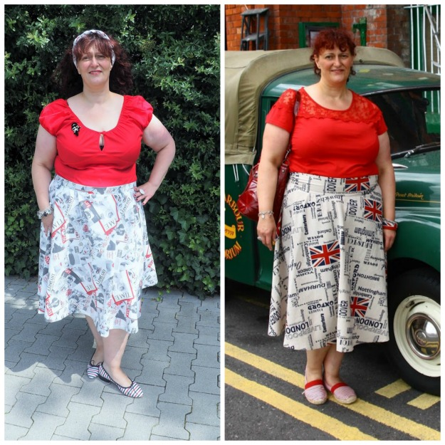 fashion over 40 woman in self-sewn flared skirts