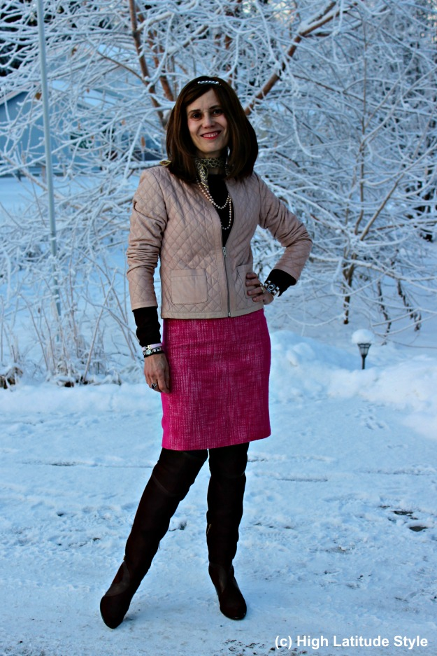 fashion over 40 Alaska woman in winter outfit