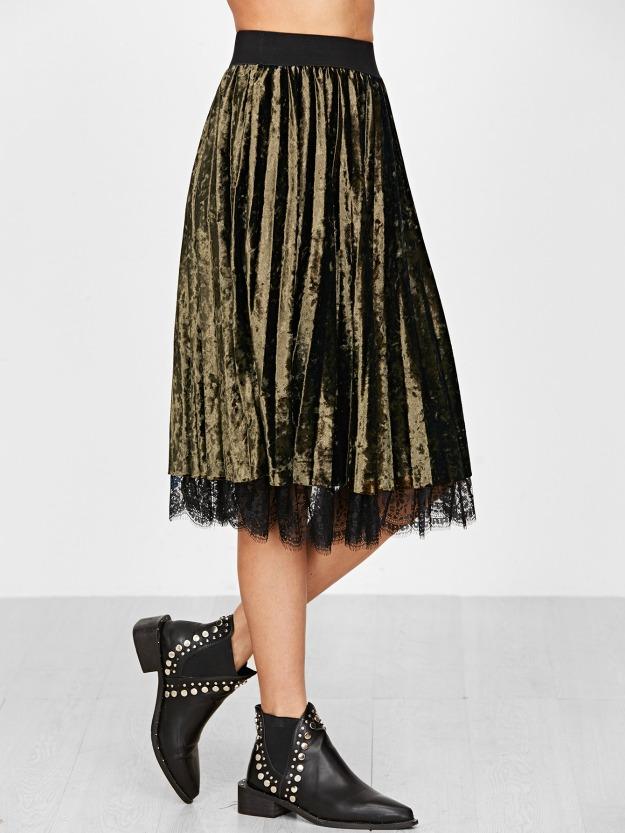 pleated velvet skirt trend for style over 40