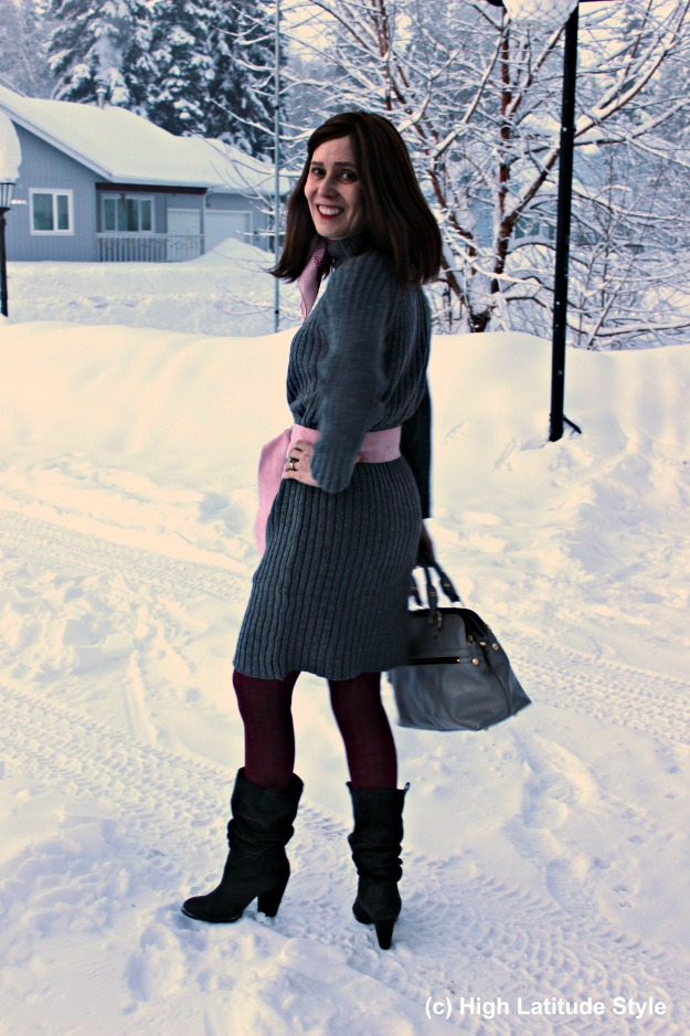 #fashion over 50 woman in gray pink winter office outfit