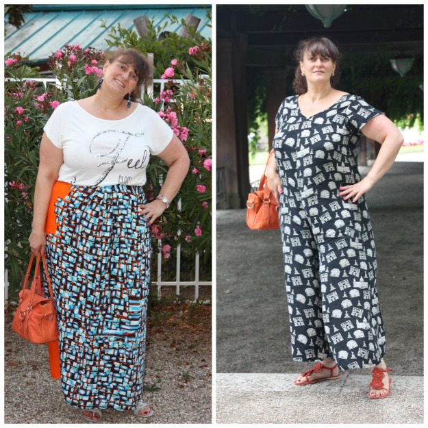 fashion over 50 woman in self-made wrap skirt (left) and jumpsuit