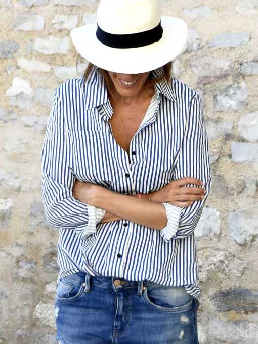 fashion over 50 vertical striped blouse