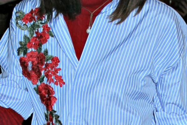 details of my Shein embroidered shirt