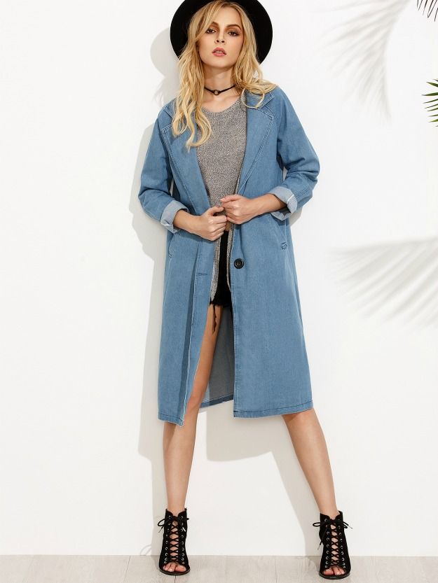 Blue Lapel denim coat