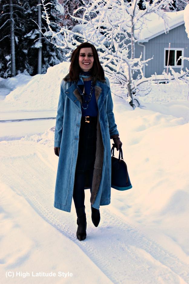 fashion over 40 woman wearing denim-on-denim in Alaska