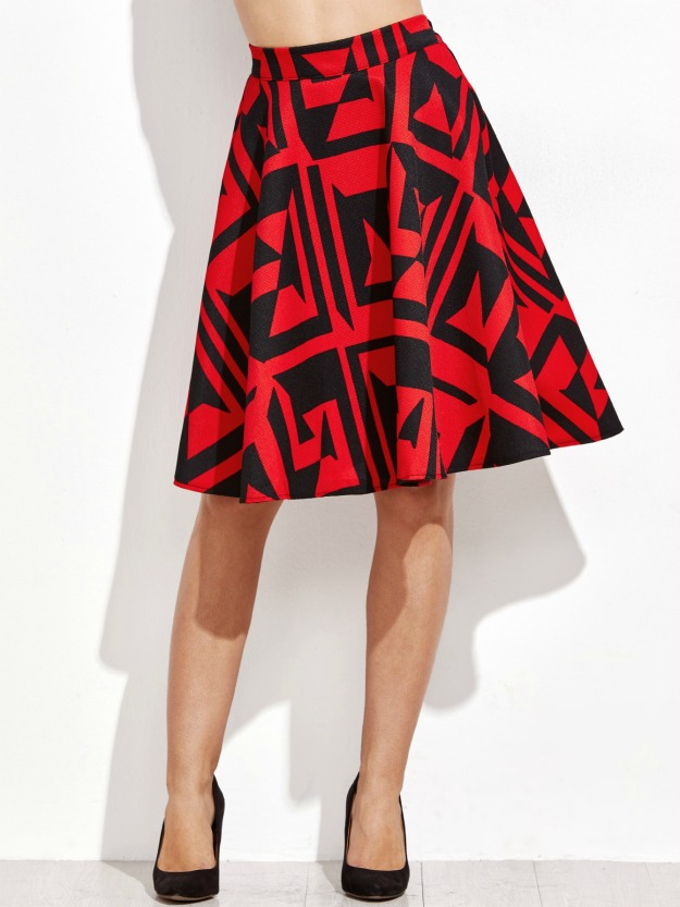 A-line abstract print skirt