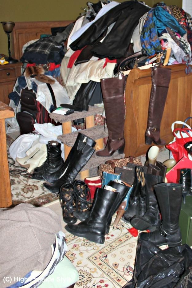 overflowing wardrobe