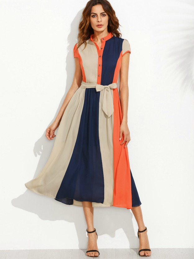 block bow tie waist midi dress