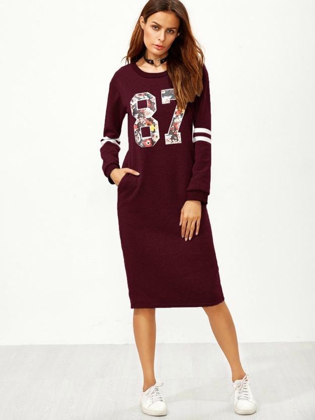 varsity print dress