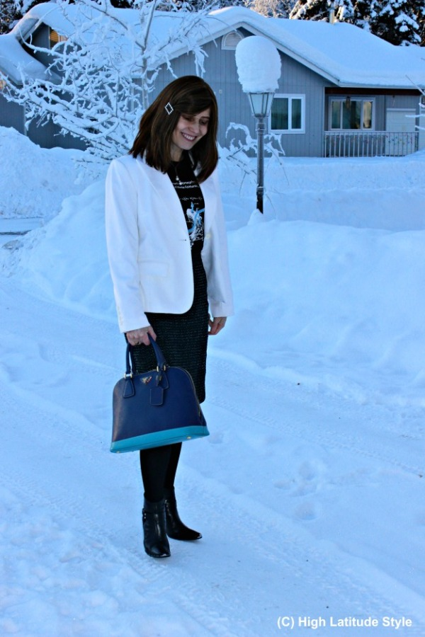 fashion over 50 woman in winter work outfit