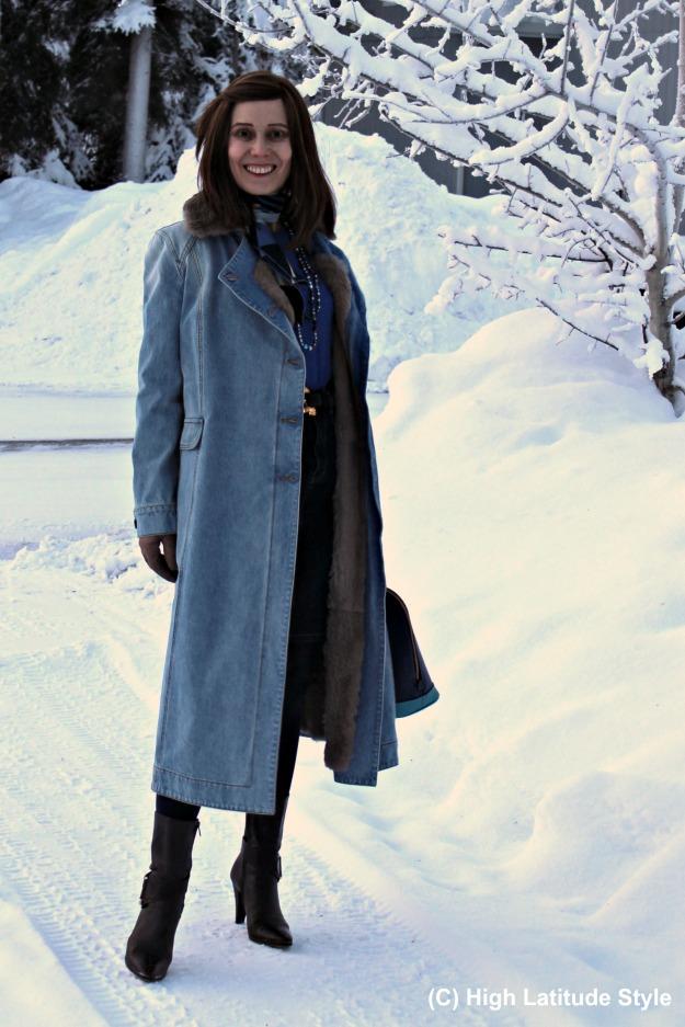mature Fashion woman in winter outerwear in Alaska