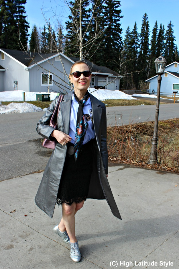 fashion over 50 Alaskan woman in spring outfit