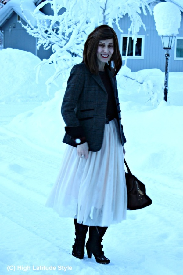 style over 40 skirt with blazer