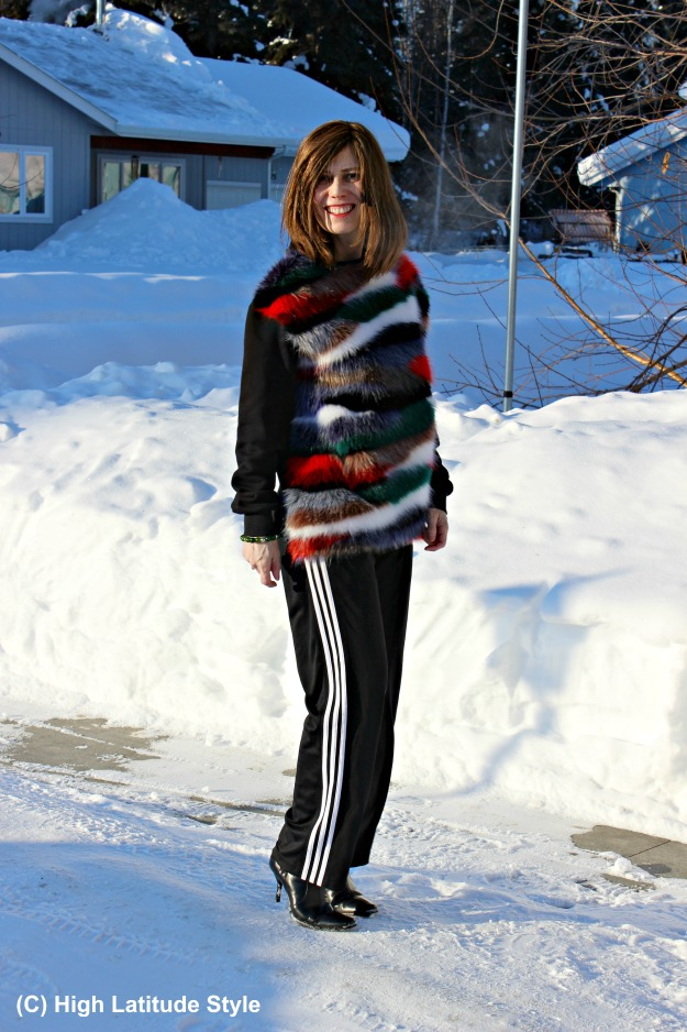 fashion over 40 Alaskan woman in Casual Friday outfit