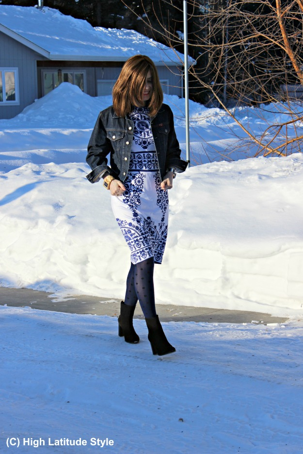 mature style work outfit with dress under jacket