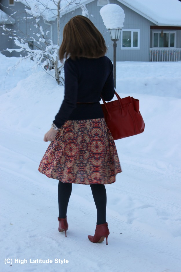 fashion over 50 winter look with flare skirt