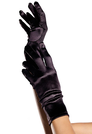 trendy satin wrist length gloves