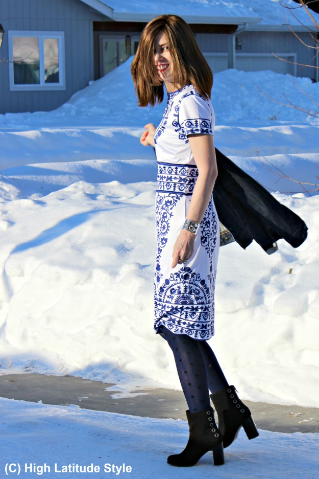 style over 50 woman in winter to spring transition look with sheath