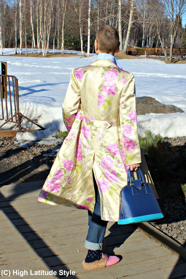 style over 40 woman in floral coat