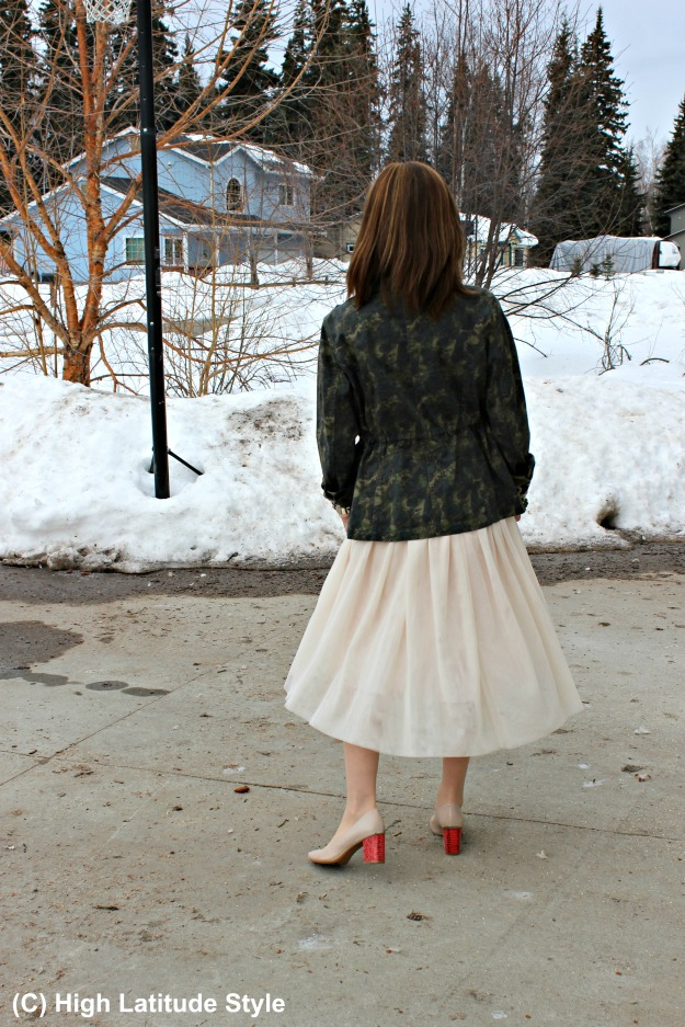fashion over 50 woman in tulle skirt in Alaska