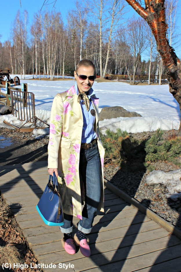 mature street style woman in shirt and coat