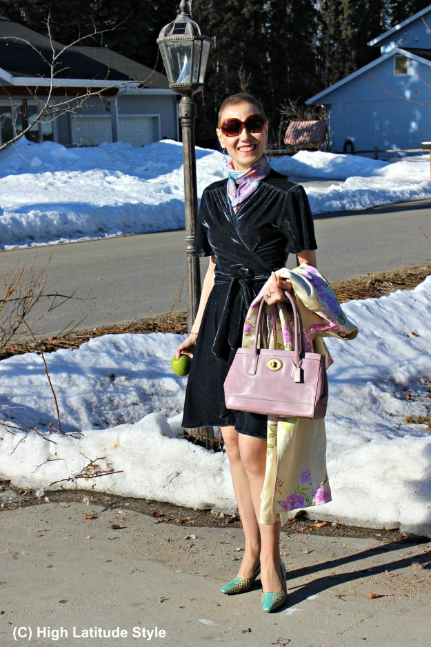 fashionover40 woman in wrap dress