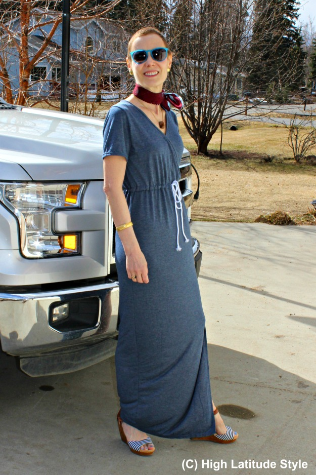 style over 40 woman in casual maxi dress