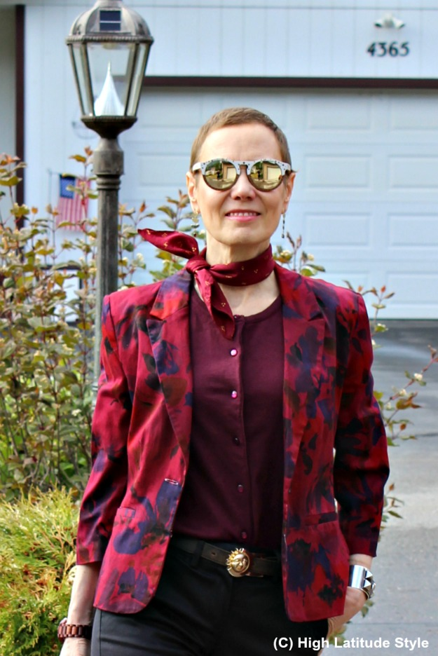 advanced fashion woman in floral blazer