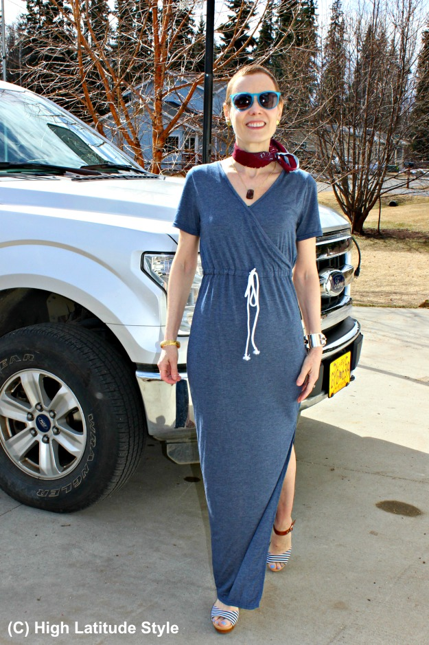 fashionover40 woman in long casual dress