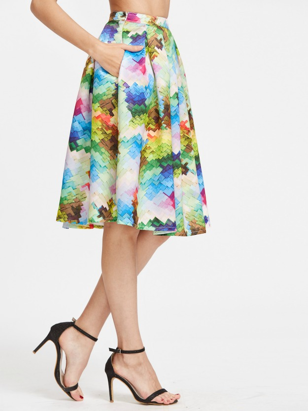fashion over 40 abstract print skirt