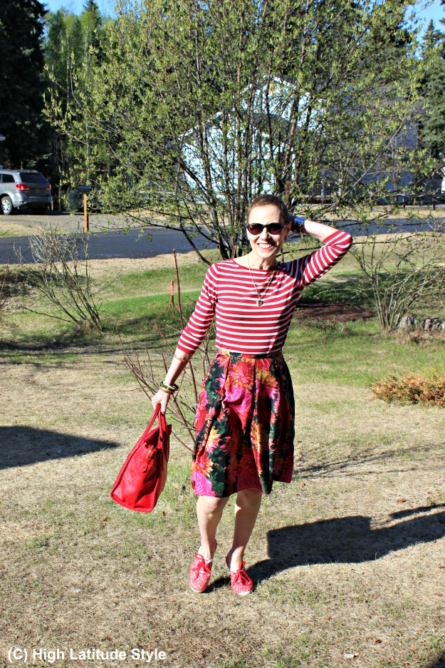 fashion over 40 woman in floral skirt and striped top