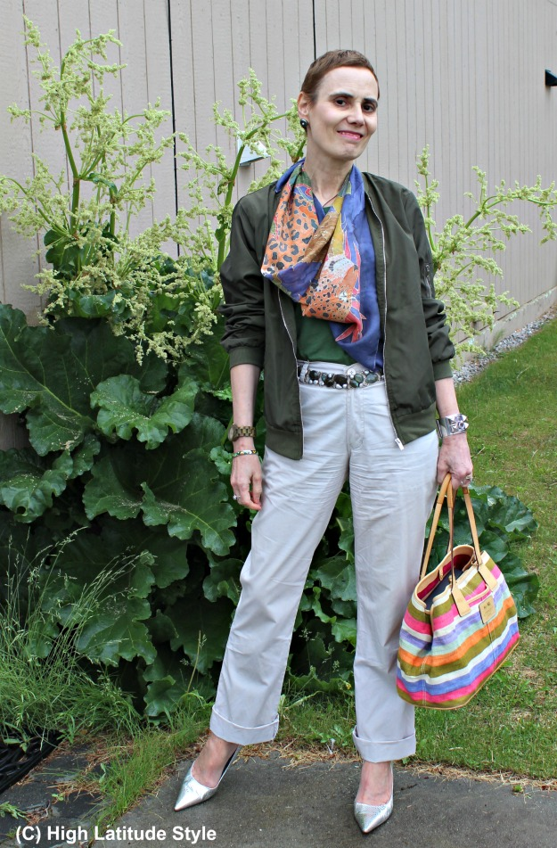 fashion over 40 woman in bomber and chinos