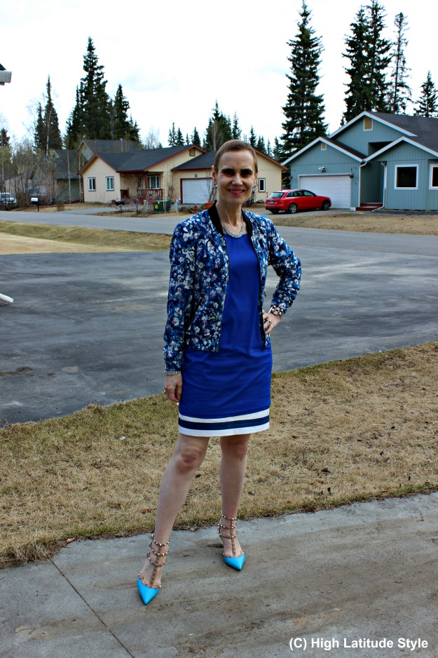 fashion over 40 woman wearing a dress over a skirt